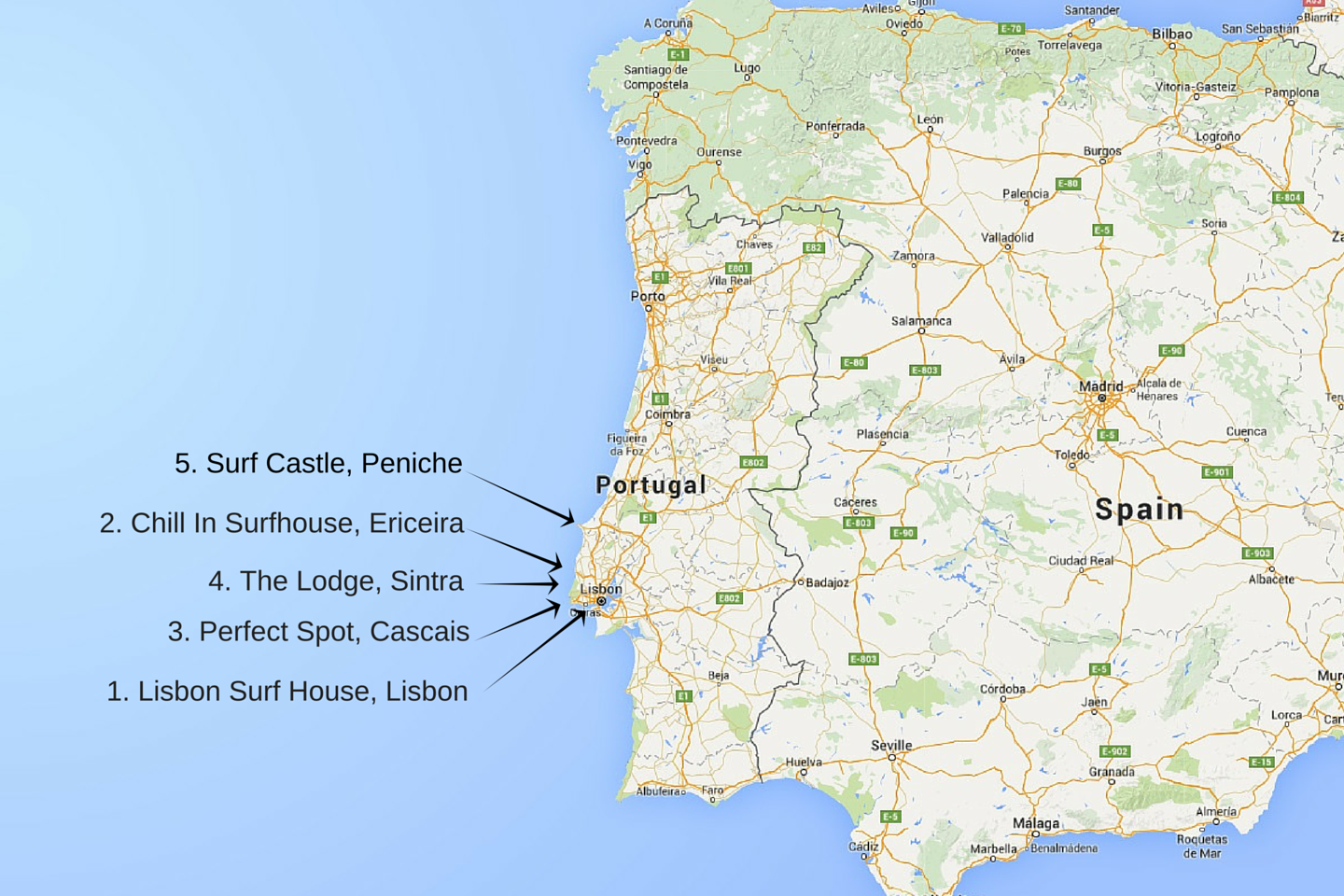 Surf Blog Of The Best Surf Houses And Camps In Portugal Part - Portugal map lisbon area