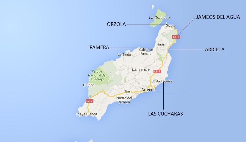 Map Of Spain Lanzarote.Surf Blog Top 5 Beginner Beaches In Lanzarote