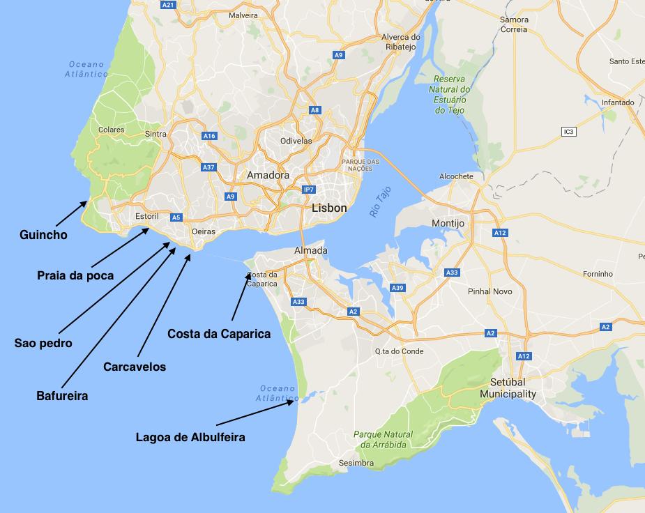 Beaches Near Lisbon Map
