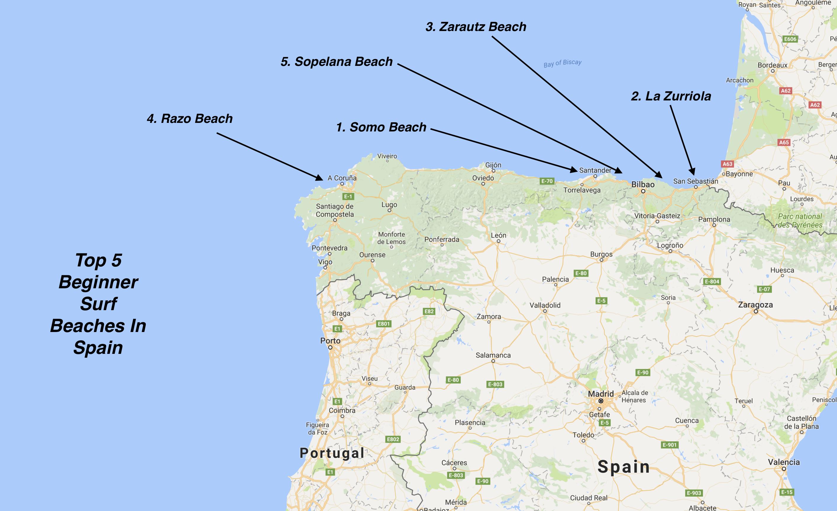 Map Of Spain La Coruna.Surf Blog Beginner Surf Beaches Spain