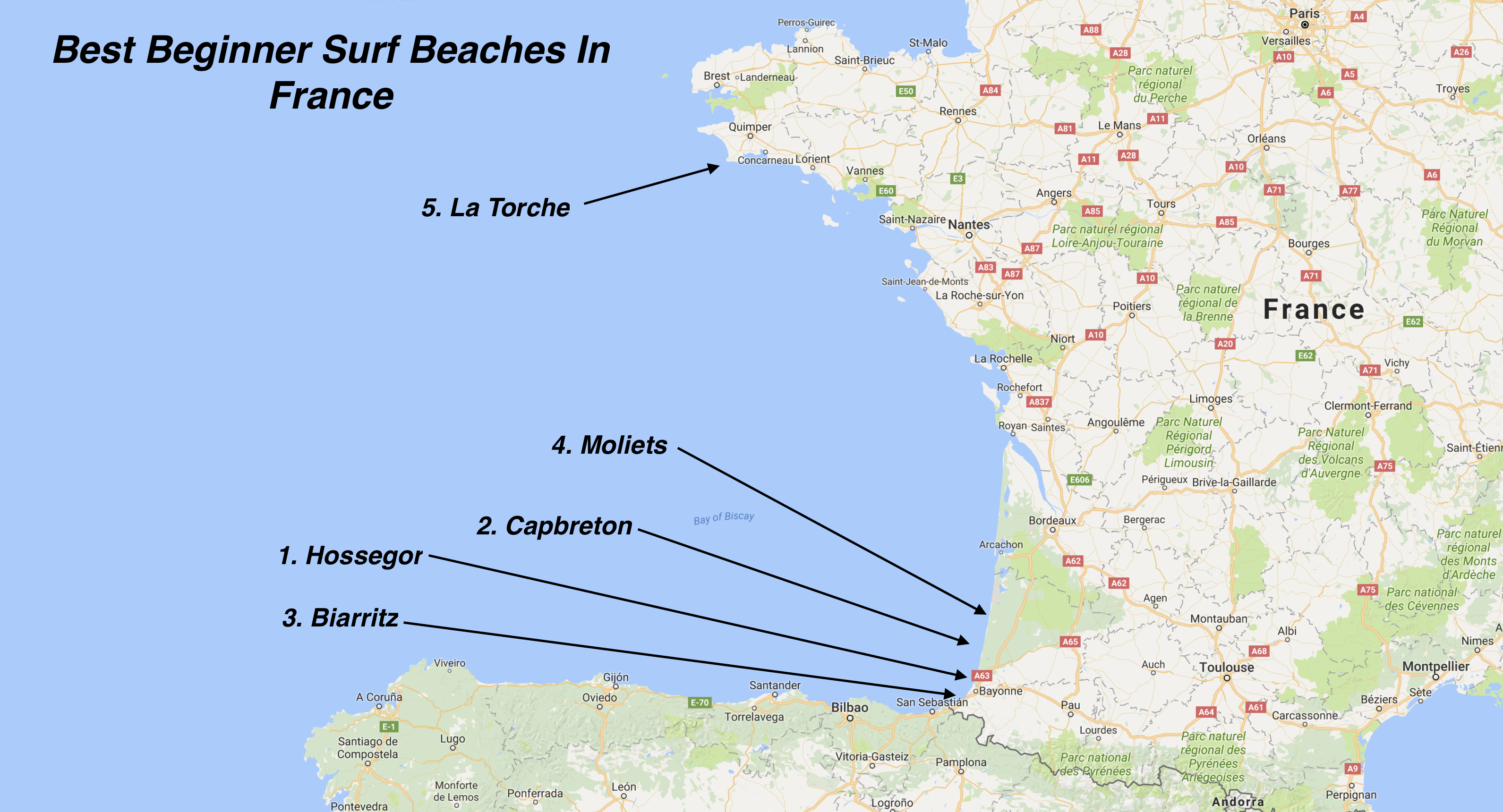 Beginner Surf Beaches France on Locations Top Bottom