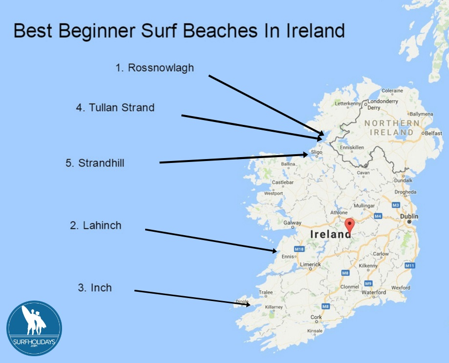 Map Of Ireland Beaches.Surf Blog Best Beginner Surf Beaches In Ireland
