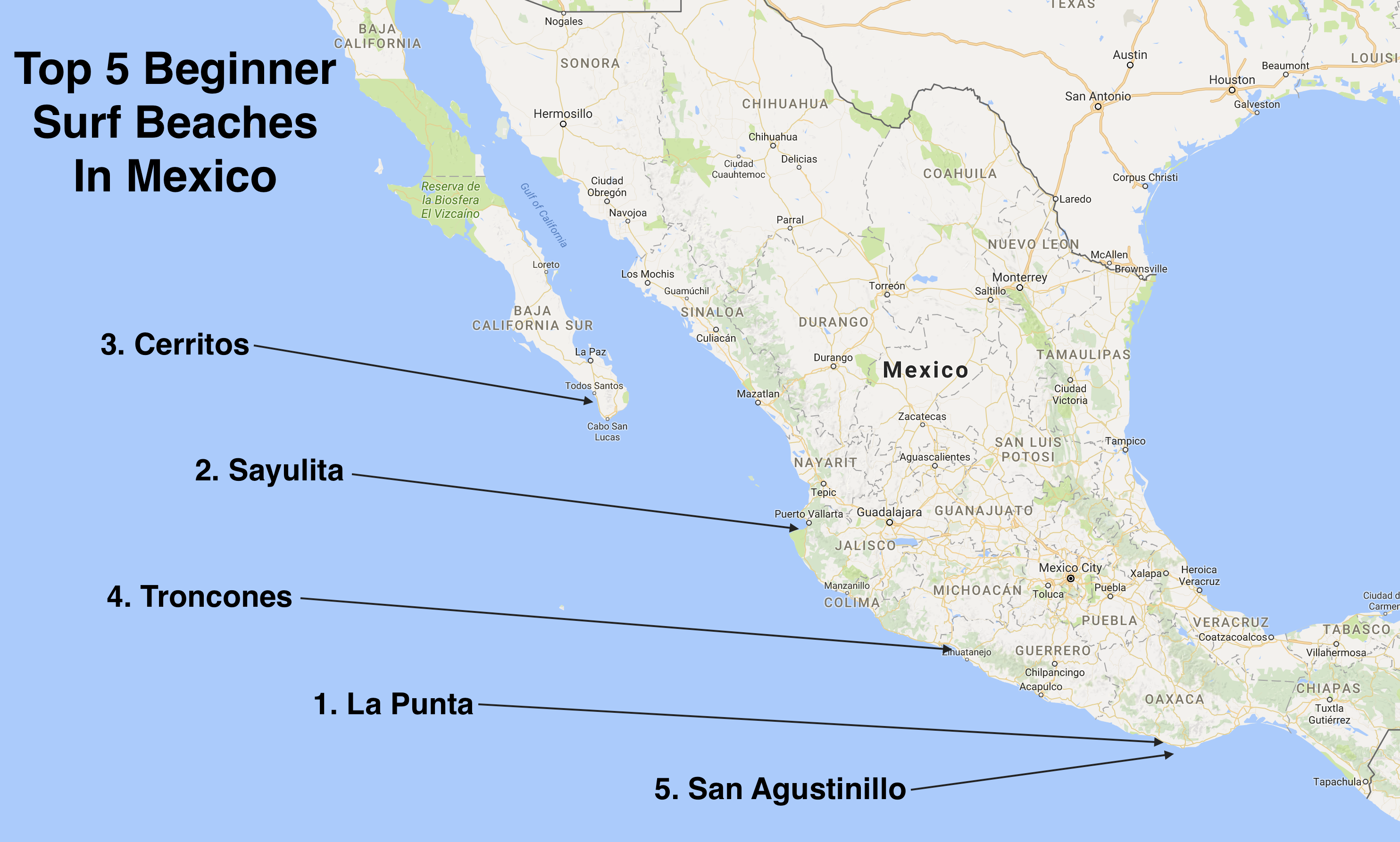 Guajaca Mexico Map.Surf Blog Top 5 Beginner Surf Beaches In Mexico