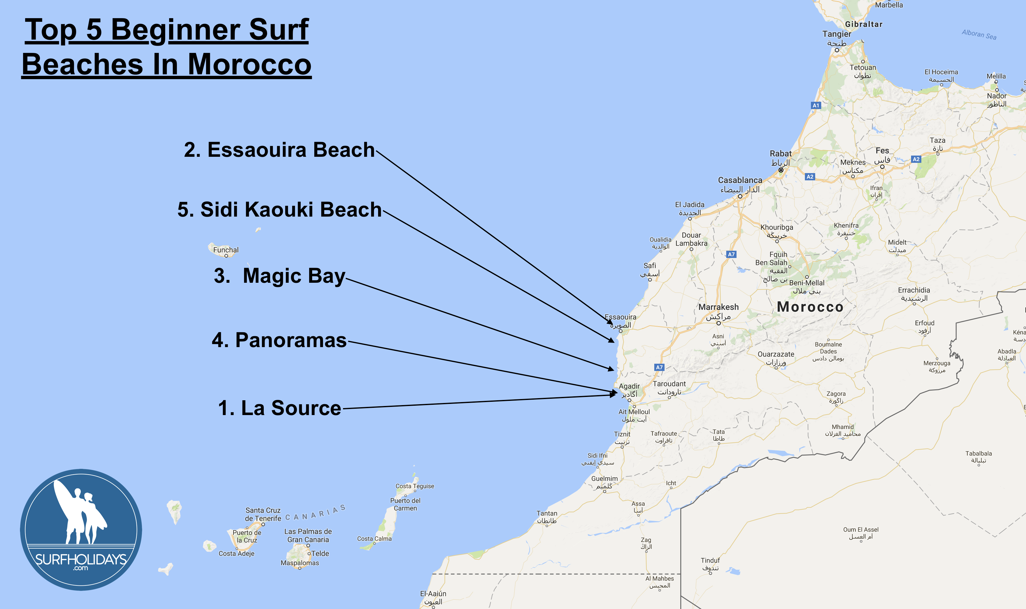Top Five Beginner Surf Beaches in Morocco