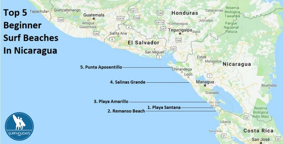 Where Is Nicaragua Located On A World Map.Surf Blog Top 5 Beginner Surf Beaches In Nicaragua