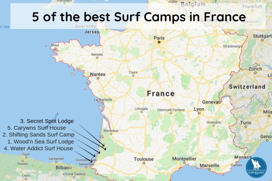France Surf Camps Map