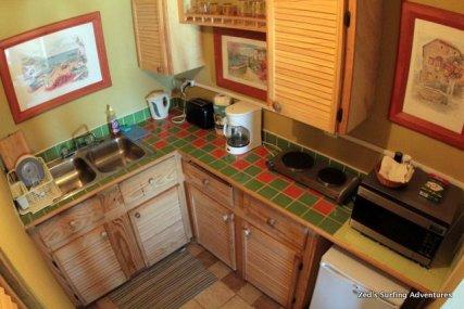 The studio kitchenette
